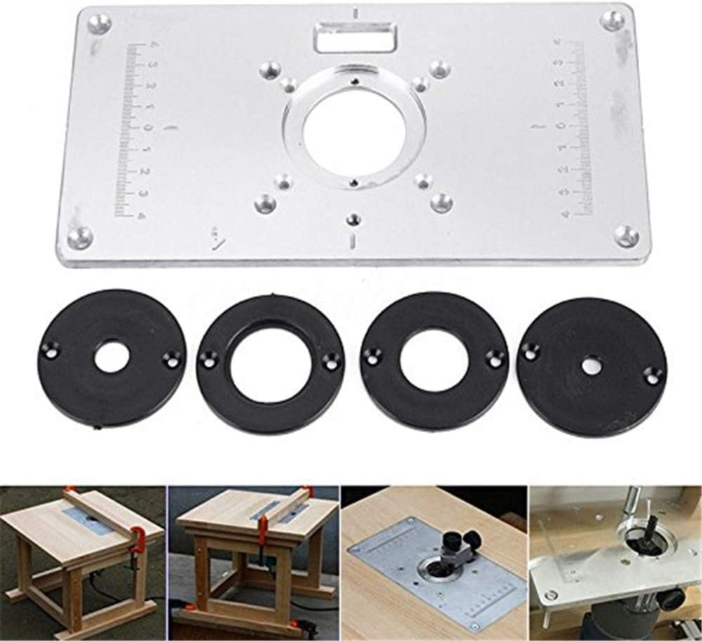 Trimmer Flip Board with 4 Black Ring Router Table Insert Plate for Trimming Grooving Furniture Processing Craft Carving Wood Processing DIY Uses