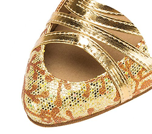 Cross Strap Tango Party Gold Wedding Pump Criss Latin Salsa Women's Mid Glitter Heel Honeystore Shoes Dance YP0UxR