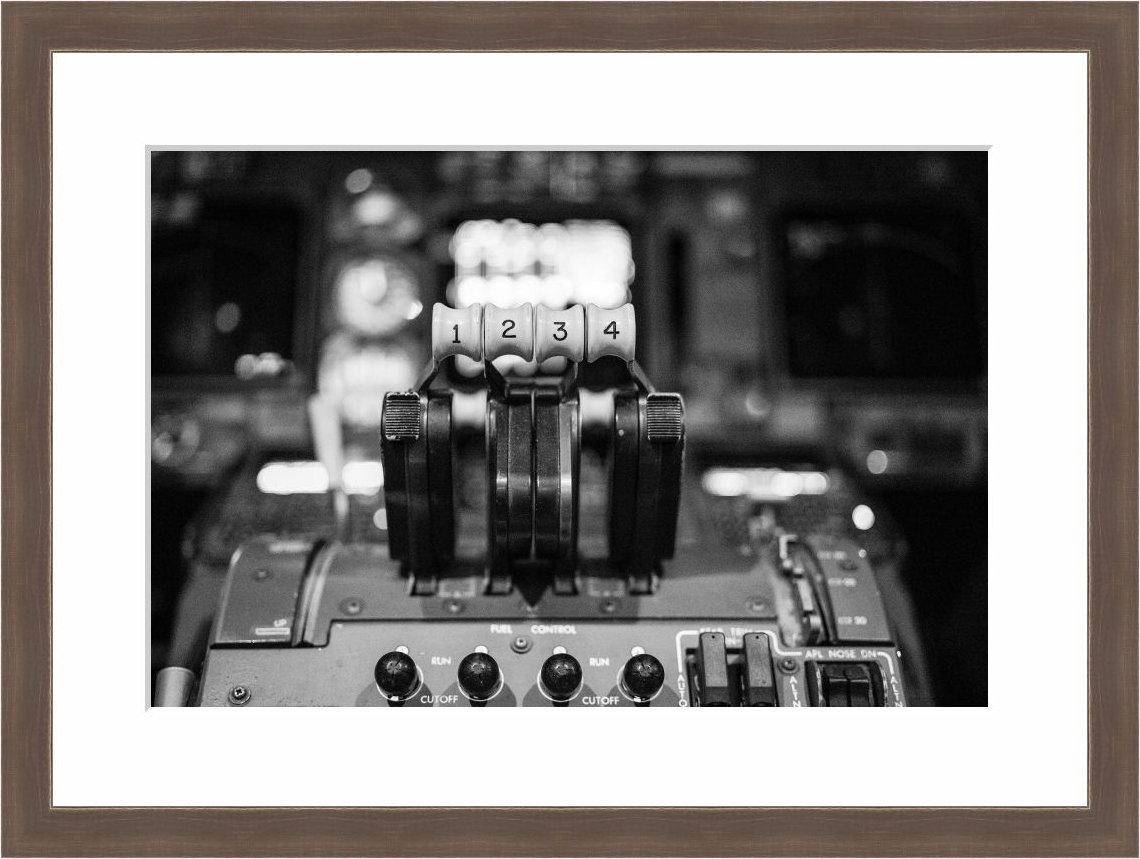 eFrame Fine Art | Jumbo Jet Boeing 747 Last Flight Airplane Thruster Aviation 4 of 5 by Robert Evans 12x18 Inch Photograph Print Framed Wall Art for Wall or Home Decor (Barnwood Brown Rustic Frame)
