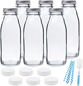16oz Glass Milk Bottles with Reusable Metal Twist Lids and Straws for Beverage Glassware and Drinkware Parties, Weddings, BBQ, Picnics, 6 Pack