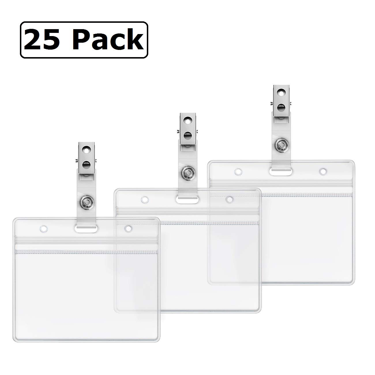ID Badge Holder with Clip Clear Plastic Name Tag Holders Horizontal Ziplock  Waterproof PVC ID Card Holder with Clip Straps by ZHEGUI (25 Pack,