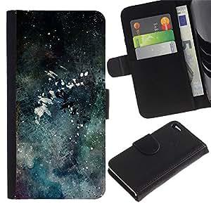 Paccase / Billetera de Cuero Caso del tirón Titular de la tarjeta Carcasa Funda para - Modern Art Color Splash Watercolor - Apple Iphone 4 / 4S