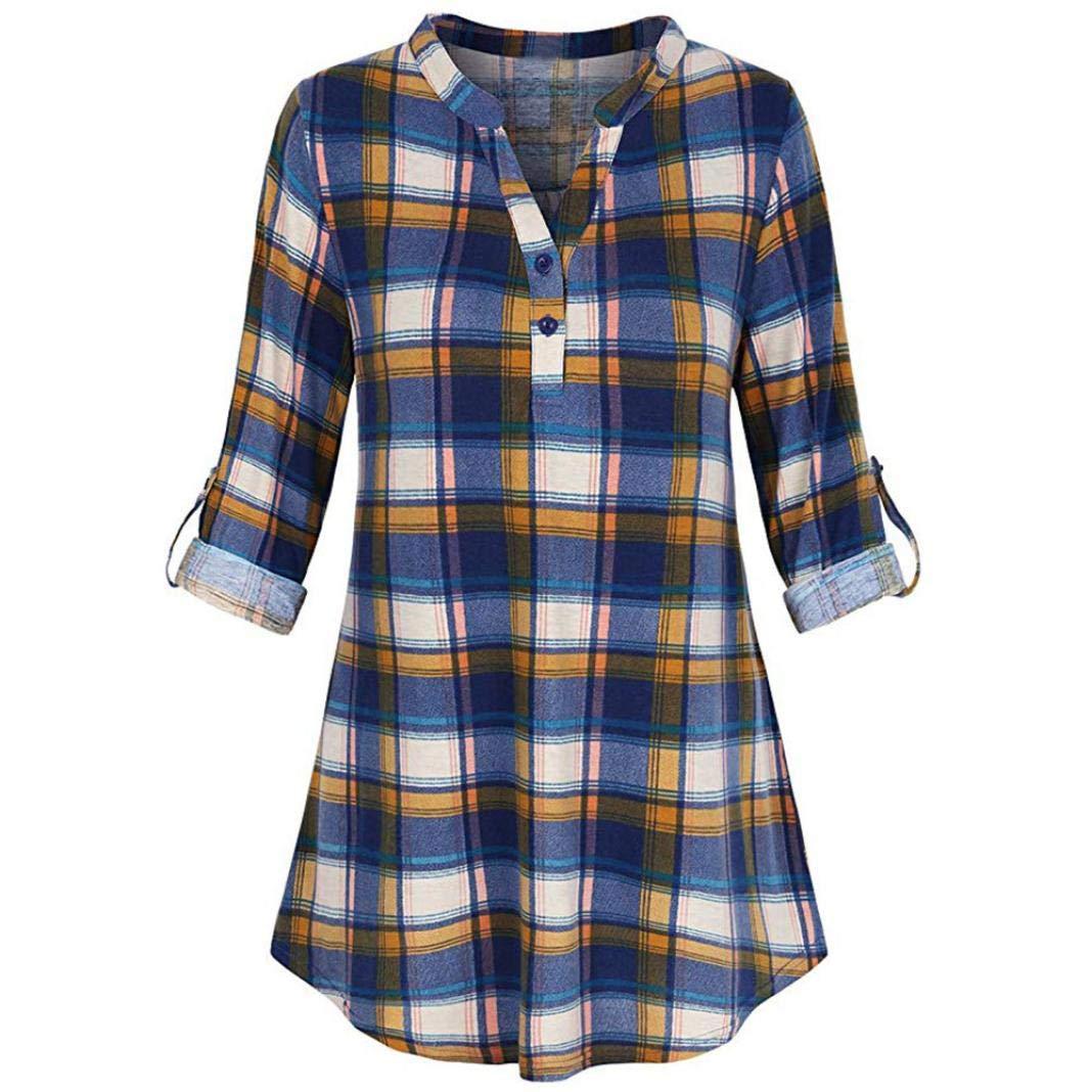 WOCACHI Women Plaid Split Button Long Sleeve Roll-up Lattice Tunic Blouses Tops WOCACHI-180813