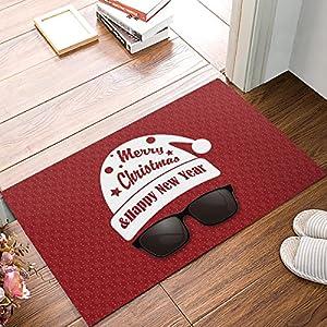 XGL Doormat Entrance Mat Floor Mat Rug Indoor/Front Door/Bathroom Mats Non Slip 23.6x15.7IN (Santa Claus Wearing Sunglasses with Red Background)