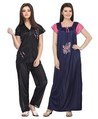 104d370afd Amazon.com  Miss Pixy Women s Satin Combo of Top and Pajama Set and Long Nighty  Satin Night Wear Dress Black