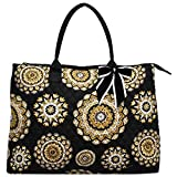 NGIL Quilted Cotton Extra Large Overnight School Tote Bag 2018 Spring Collection (Mandala Dream Black)
