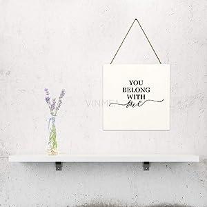 "VinMea You Belong with Me Letters, Home Door, Farmhouse Wall Door, Wall Art Gift, Wall Art, Home Wood Plaque, Wooden Sign 6"" X 6"""