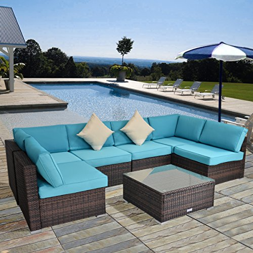 7 Piece Outdoor Patio PE Rattan Wicker Sofa Sectional Furniture Set with Cushions and Fastener Clips (Brown) (Set Furniture Nook Breakfast)