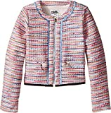 Karl Lagerfeld Kids Girl's Tweed Jacket w/ Fringe and Black Trim (Little Kids) Multi Outerwear