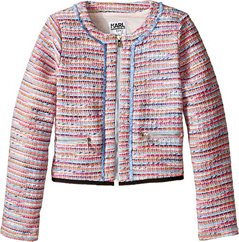 Karl Lagerfeld Kids Girl's Tweed Jacket w/ Fringe and Black Trim (Little Kids) Multi Outerwear by Karl Lagerfeld Kids