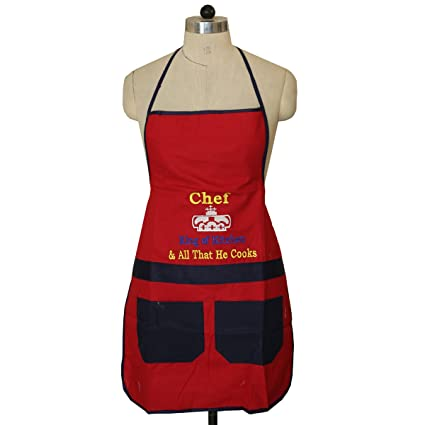 Kuber Industries Cotton Kitchen Apron with Front Pocket Set - Multicolour