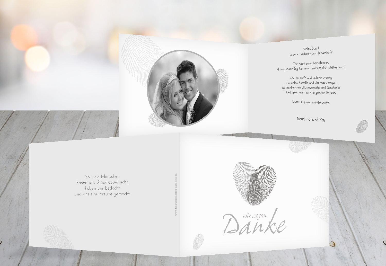 Kartenparadies Danksagung für Hochzeitsgeschenke Hochzeit Dankeskarte fingerprint, hochwertige Danksagungskarte Hochzeitsglückwünsche inklusive Umschläge   20 Karten - (Format  148x105 mm) Farbe  Grau B01NAVM9U0 | Verschiedene Stile un