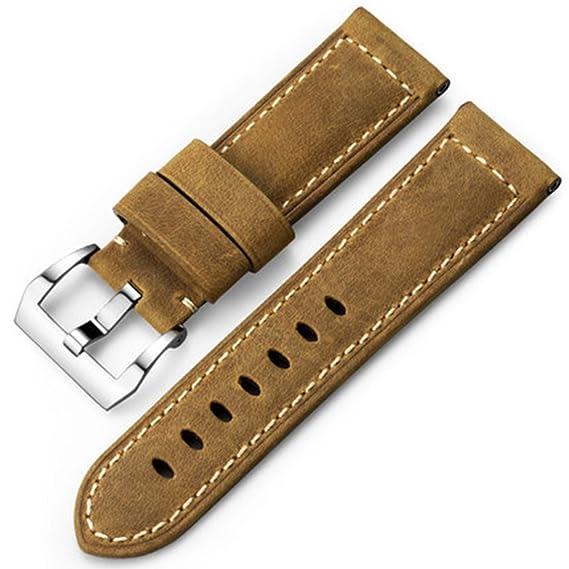 iStrap 22 mm 24 mm 26 mm Banda de Reloj Vintage Piel de Correa Acolchada Correa Panerai reemplazo Pulsera: Amazon.es: Relojes