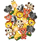 """Small Safari Jungle Zoo Animals (4"""" Tall) Foam Decorations for Baby Shower, Birthday Parties Gifts for Boys Girls Wood Sticks Included (Set of 18)"""