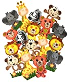 AVELLIM Small Safari Jungle Zoo Animals (4'' Tall) Foam Decorations for Baby Shower, Birthday Parties Gifts for Boys Girls Wood Sticks Included (Set of 18)
