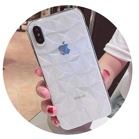 best service 01cba 7e8e1 Amazon.com: Asawoene Clear Diamond Pattern Case for iPhone XR XS MAX ...