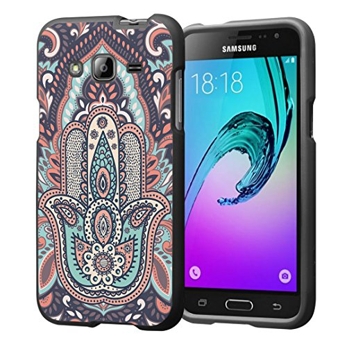 Galaxy J3 Case, Galaxy Amp Prime Case, Galaxy Express Prime Case, Capsule-Case Snap-on (Black) Hard Case for SM-J320 Samsung Galaxy J3 2016 / Amp Prime / Express Prime- (Hamsa)