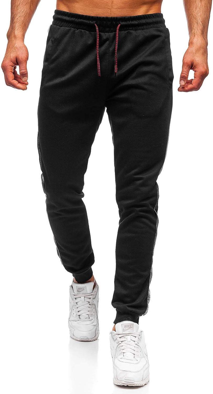 BOLF Pantaloni di Melange di Tuta con Loghi da Uomo Mix 6F6 con Coulisse Stile Sportivo