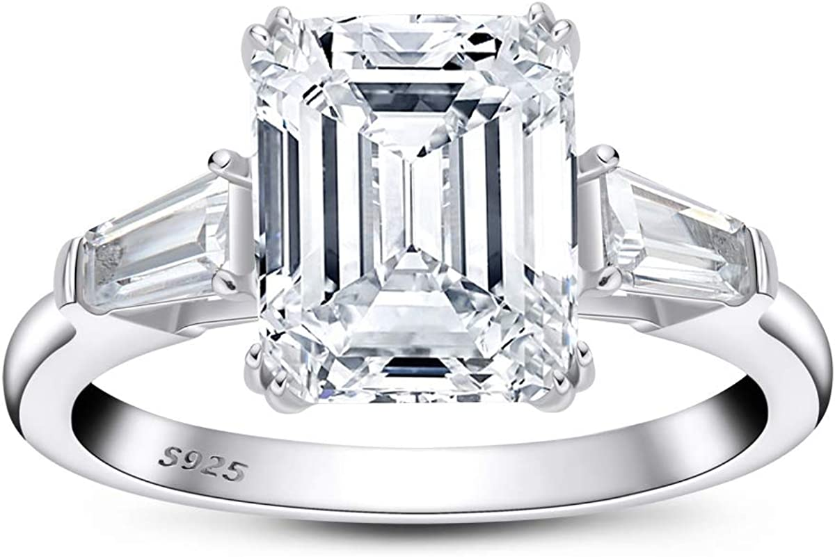 AINUOSHI 4 Carat/ 3 Carat Emerald Cut Ring Baguette 3 Stones Cubic Zirconia CZ Engagement Sterling Silver Band Jewelry
