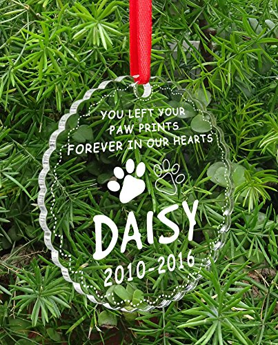 Personalized Custom Name Dog Pet Memorial Christmas Tree Ornament Clear Paw Engraved Hanging With Gift Box
