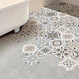 VancyTop 3D Ceramic Tile Hexagon Shape DIY Removable Floor Wall Stickers 10pcs/set