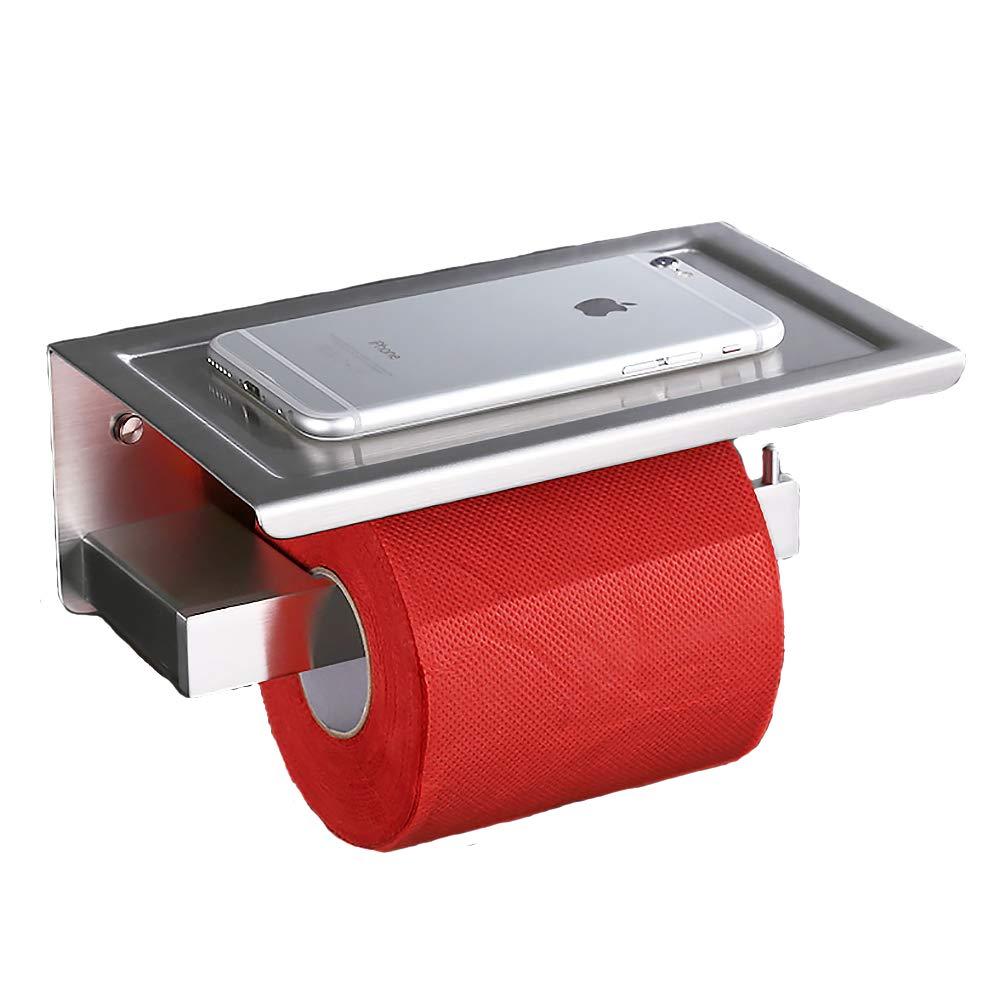Homelody Dérouleur Papier toilettes Porte Rouleau Papier Toilette Support Papier  Toilette Porte Papier avec Tablette En 3cc010f036d4