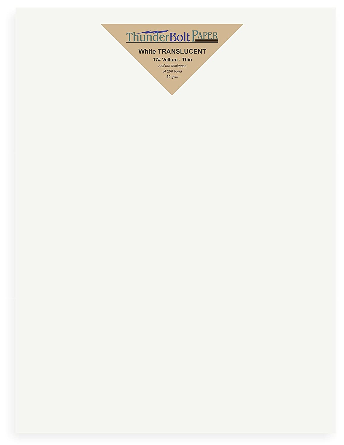 50 Sheets White Translucent 17# (pound) Vellum Paper 8.5 X 11 Inches Letter Size Light Weight by ThunderBolt Paper 4336940497
