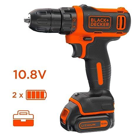 Black+Decker BDCDD12KB-QW - Taladro atornillador 10.8 V, 26 Nm, con 2 baterías litio 1.5 Ah y maletín
