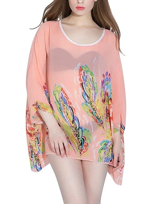 Mujeres Blusa Camiseta Cuello Blusa Sin Hombros Con Escote Pink L