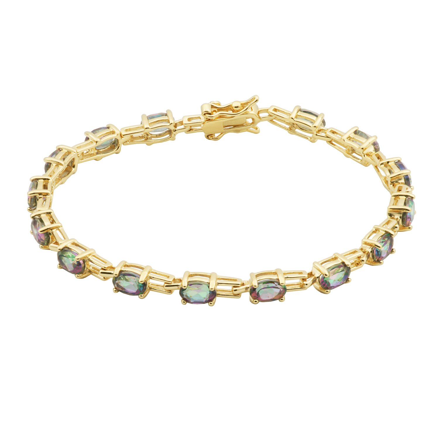 18k Yellow Gold Plated Sterling Silver Oval Rainbow Mystic Topaz 6x4mm Tennis Bracelet, 7.25''