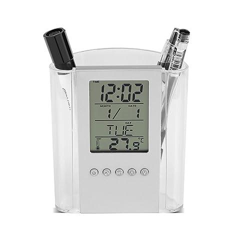 Dewin Reloj de Pluma - Multifuncional Lápiz de lápiz Escritorio Digital Despertador, Calendario, Temperatura