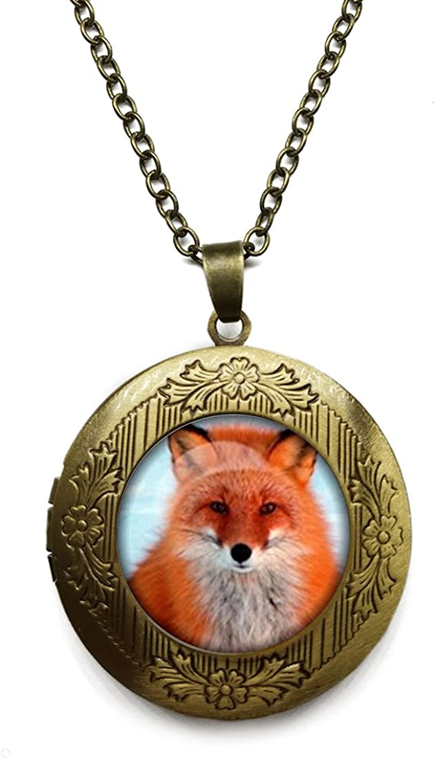 Vintage Bronze Tone Locket Picture Pendant Necklace Fox Art Picture Included Free Brass Chain Gifts Personalized