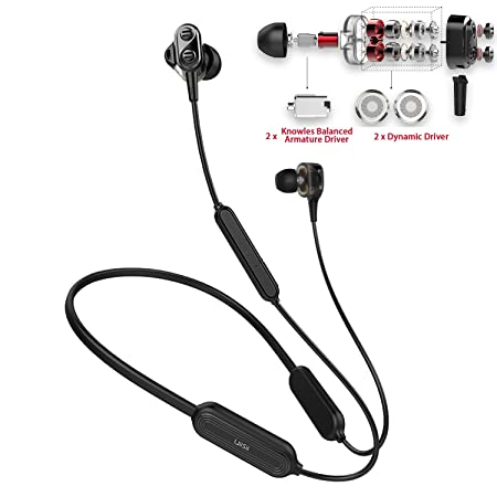 Bluetooth Earbuds,TOP Wireless Earbuds 15H Sweatproof, Hybrid Quad Drivers Superb HiFi Stereo,Impressive Bass,Noise Cancelling Bluetooth in-Ear Headphones w Mic,Neckband Wireless Sport Earphones