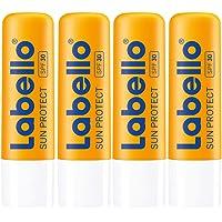 Labello Sun Protect i 4-pack (4 x 4,8 g), vattentät läppvårdspenna med solskydd (LSF 30), läppvård utan mineraloljor