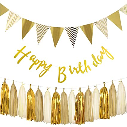 5ft Happy Birthday Silver Gold Foil Banner Pennant Glitter Party Hanging Decor