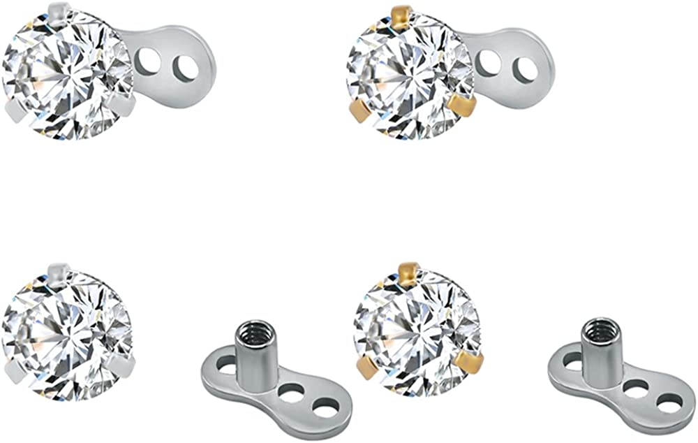 ZS 4Pcs 14g Surgical Steel Cubic Zirconia Dermal Anchor Tops and Base Microdermals Piercing