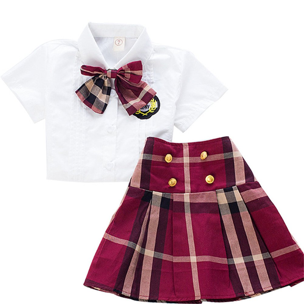 FTSUCQ Girls School Uniforms Checkered Shirt Top + Skirts,130