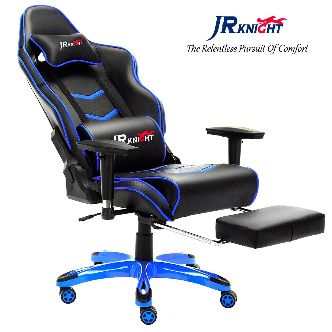 JR Knight Gaming Chair Pro, Ergonomical Luxury Home Office Racing Chair with Lumbar Pillow and Foot Rest Stool, Gamer Design Leather Chair (Black&Blue) JR Knight Furniture