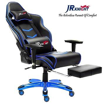 JR Knight Gaming Chair Pro, ergonómico Silla de Escritorio de electrodoméstico Racing de Luxe con Lumbar Funda de Almohada y reposapiés Taburete, ...