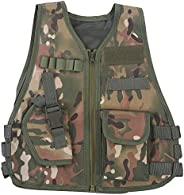 Children Kids Camouflage Vest Jacket Outdoor Security Guard Waistcoat Combat Games Training Protective