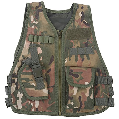 VGEBY Kids Camouflage Tactical Vest Jacket Outdoor Security Guard Waistcoat Combat Games Training Protective (S-CP CamouflageCP Camouflage)