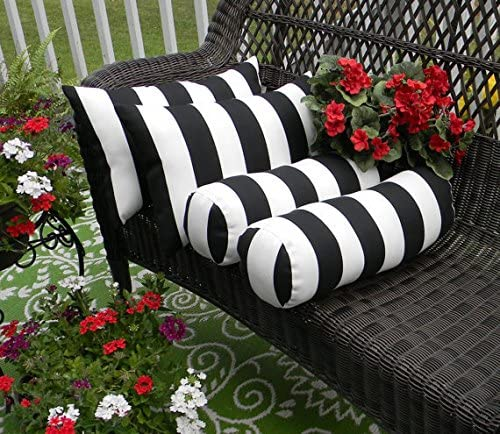 Resort Spa Home Decor Set of 4 Indoor Outdoor Decorative Bolster Neckroll and Rectangle Lumbar Pillows – Black and White Stripe