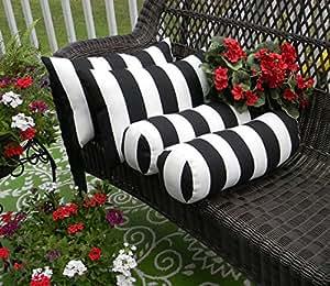 Juego de 4para interior/al aire libre decorativo Bolster/Neckroll y Rectángulo/lumbar almohadas–blanco y negro rayas