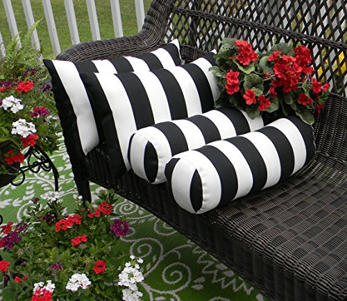 Set of 4 Indoor / Outdoor Decorative Bolster / Neckroll and Rectangle / Lumbar Pillows - Black and White Stripe