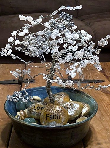 Crystal Tree, Silver Wire Tree, Tree of Life, Wire Tree Sculpture, Bonzai Tree, Handmade Tree, Hand Thrown Pottery Tree Of Life Pottery
