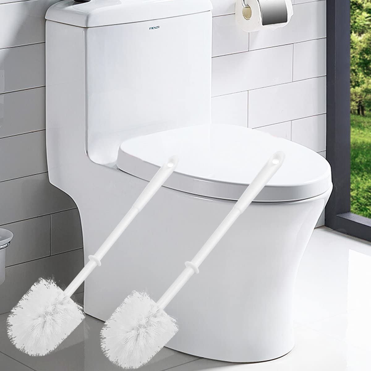 Ulable Toilet Brushes And Holders Toilet Brush White with Soft Bristle 4 x Toilet Brush