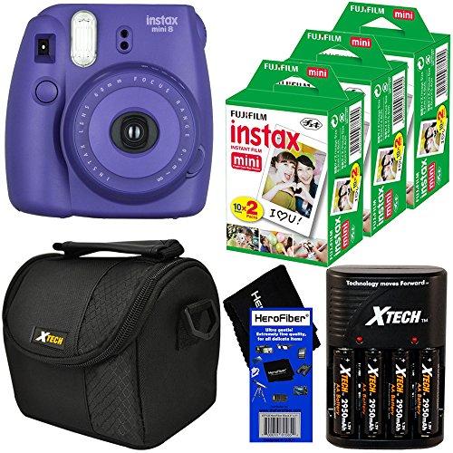 Fujifilm Instax Mini 8 Instant Film Camera (Grape) + Fujifilm Instax Mini Instant Film (60 sheets) + 4 AA Rechargeable Batteries & Battery Charger + Padded Camera Case + HeroFiber Cleaning Cloth (Fujifilm Instax Mini8 Grape compare prices)