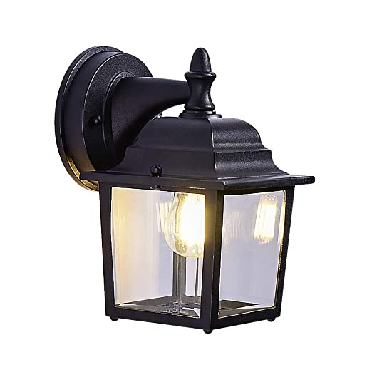 Simple Modern Outdoor Wall Light Wall Sconce Wall Lanterns Black Outdoor Light Fixtures Cast Aluminum Anti Rust Transparent Glass Lamp Suitable For