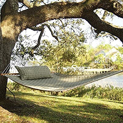 Original Pawleys Island QWEAVEFLAX Softweave Hammock, Flax - Our Soft Weave Hammocks are woven from soft, all-weather OLEFIN acrylic fabric that's resistant to staining, rot, mold and mildew, and with a 1-inch center layer of polyester fiberfill batting, for added comfort. Fabric thread is solution-dyed, so the earthy Flax color isn't applied afterward through washing or dipping, but goes in during the making of the thread fiber itself, becoming a permanent part of the fiber. The ropes attaching the hanging hardware to the hammock bed are made from weather-tough, cottony-feeling soft-spun polyester; we precision-wind all of our own rope ourselves, to exceed even the U.S. military's exacting specifications for strength. - patio-furniture, patio, hammocks - 61MWwRsy5cL. SS400  -