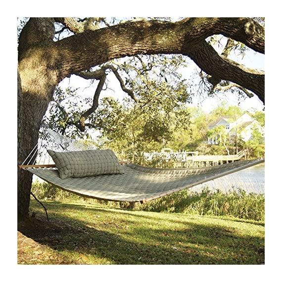 Original Pawleys Island QWEAVEFLAX Softweave Hammock, Flax - Our Soft Weave Hammocks are woven from soft, all-weather OLEFIN acrylic fabric that's resistant to staining, rot, mold and mildew, and with a 1-inch center layer of polyester fiberfill batting, for added comfort. Fabric thread is solution-dyed, so the earthy Flax color isn't applied afterward through washing or dipping, but goes in during the making of the thread fiber itself, becoming a permanent part of the fiber. The ropes attaching the hanging hardware to the hammock bed are made from weather-tough, cottony-feeling soft-spun polyester; we precision-wind all of our own rope ourselves, to exceed even the U.S. military's exacting specifications for strength. - patio-furniture, patio, hammocks - 61MWwRsy5cL. SS570  -